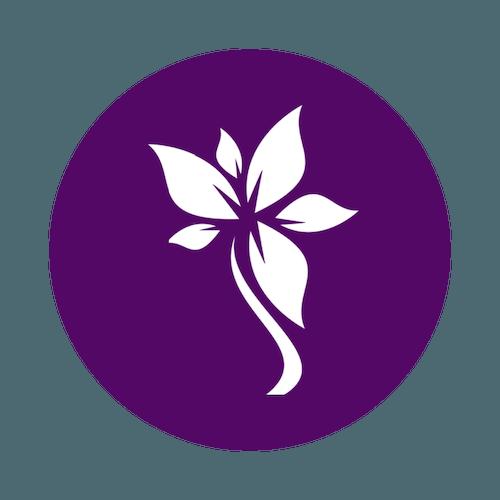 White flower in purple circle iSkinPure logo