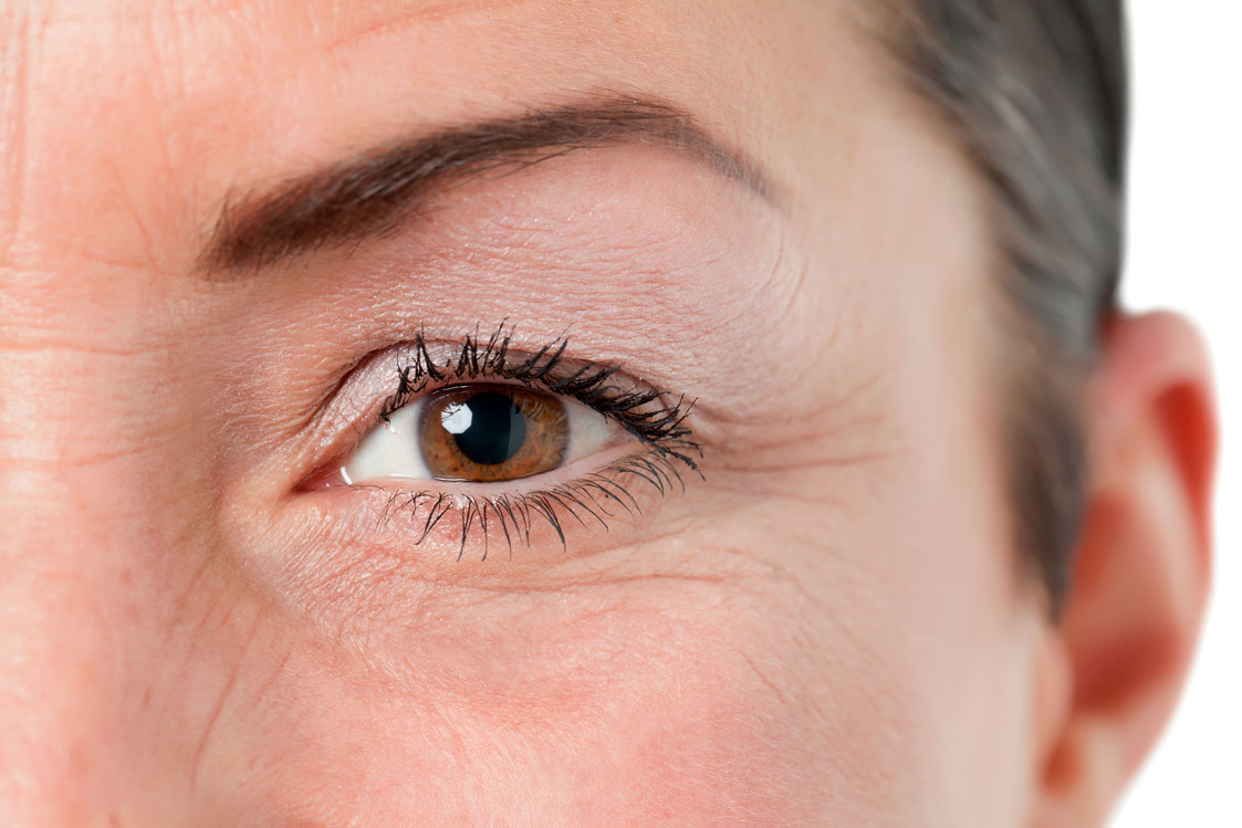 Eyes of elderly woman with wrinkles around them