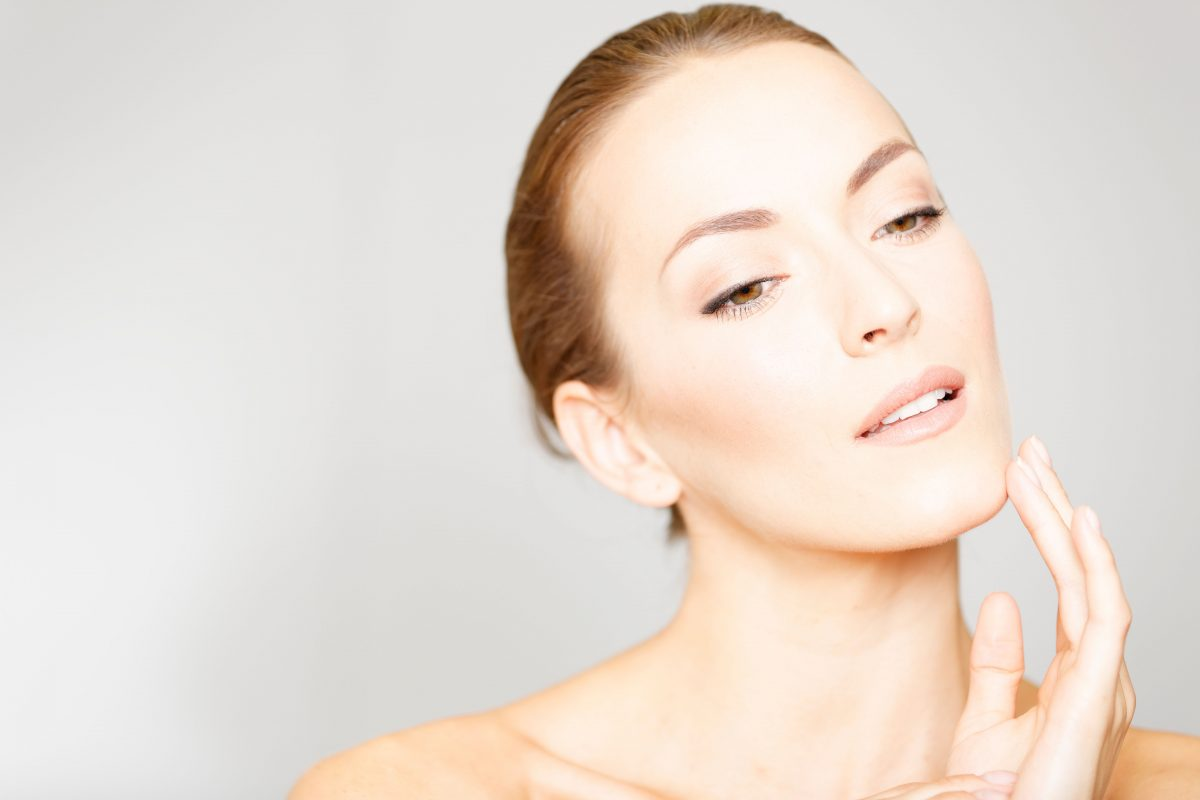 Middle age woman with beautiful skin after PRP