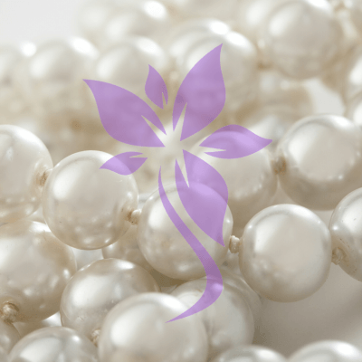 Purple flower iSkinPure clinic logo-element on pearls background
